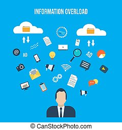Informational overload concept. Flat style vector...