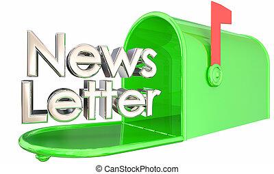 informationen, aktualisierung, abbildung, briefkasten, auslieferung, newsletter, 3d