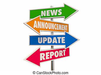 informationen, ankündigung, aktualisierung, abbildung, pfeil, zeichen & schilder, bericht, nachrichten, 3d