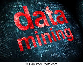 informationen, concept:, daten, bergbau, auf, digitaler...