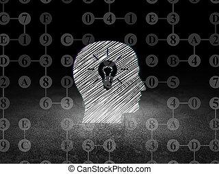 informationen, concept:, kopf, mit, glühlampe, in, grunge,...