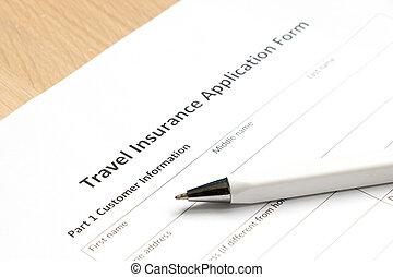 informationen, form, reise, anwendung, hintergrund, buero, wartezeit, versicherung, füllung