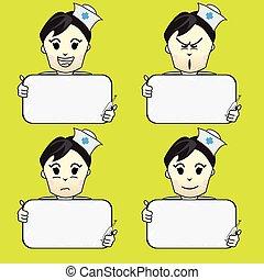 informationen, krankenschwester, karikatur
