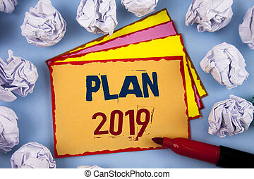 informationen, motivation, begriff, wort, herausfordernd, geschaeftswelt, text, ideen, schreibende, start., plan, jahr, neu , 2019., ziele