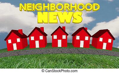 informationen, nachbarschaft, aktualisierung, abbildung, häusser, gemeinschaft, nachrichten, 3d