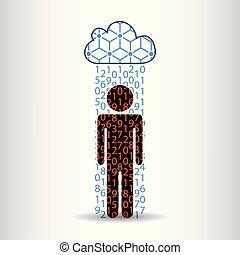 informationen, regen, mann