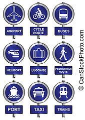 informationen, transport, zeichen