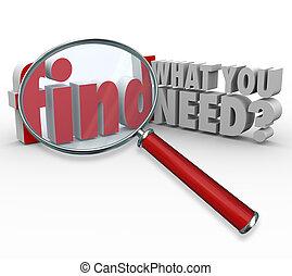 informationen, was, suchen, vergrößerungsglas, bedürfnis, ...