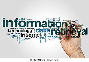 informationen, wiedergewinnung, wort, wolke