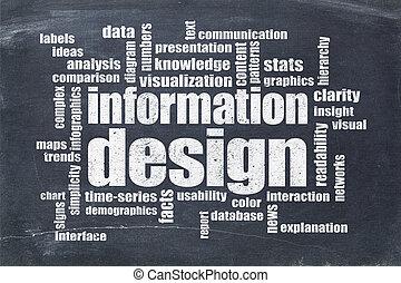 informationen, wort, design, wolke