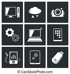 informationsaustausch, technologie- ikonen, satz