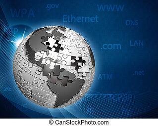 informationsnetz, abstrakt, global, hintergruende, techno