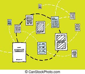 informationsnetz, fließen, /, dynamik, dokument