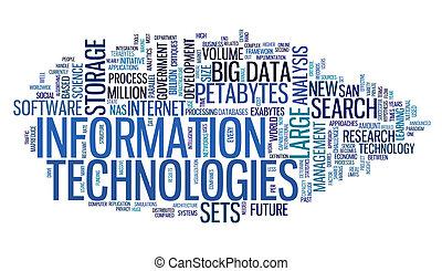 informationstechnologie, in, etikett, wolke