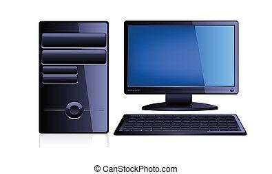 informatique, à, moniteur, et, clavier