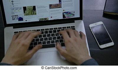 informatique, étudiant, travail, cahier, sombre, bois, riche, bureau