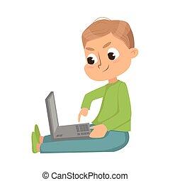 informatique, étudier, séance, ordinateur portable, garçon, mignon, science, vecteur, illustration