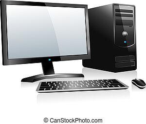 informatique, 3d, bureau