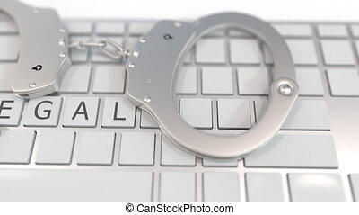informatique, 3d, illégal, crime, menottes, apparenté,...