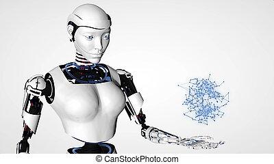 informatique, 3d, robot, avenir, androïde, woman., technologie, science., intelligence, humanoïde, cyborg, artificiel, rendre, sexy