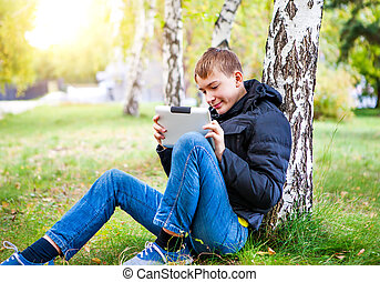 informatique, adolescent, tablette