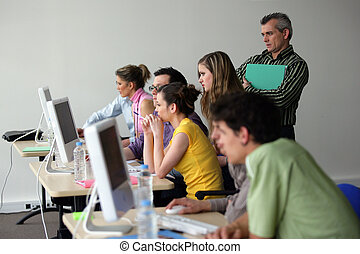 informatique, adulte, classe