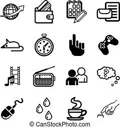 informatique, application, ensemble, icône, média