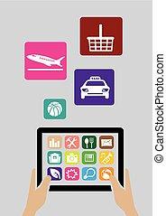 informatique, apps, tablette numérique, icônes