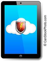 informatique, bouclier, tablette, symbole, éclair, protection, rouges, icône, sauvegarde, nuage, boulon