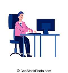 informatique, bureau, bureau, homme affaires, heureux, fonctionnement