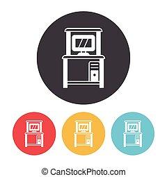informatique, bureau, icône