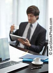 informatique, business, tablette, homme