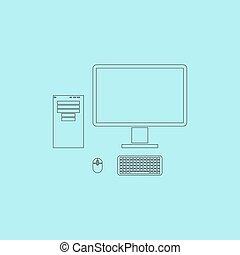 informatique, cas, à, moniteur, clavier, et, souris, vecteur, icon.