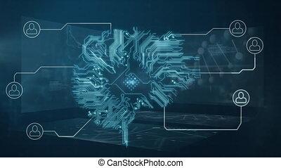 informatique, cerveau, connexion, réseau