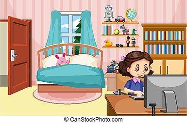 informatique, chambre à coucher, fonctionnement, girl, scène