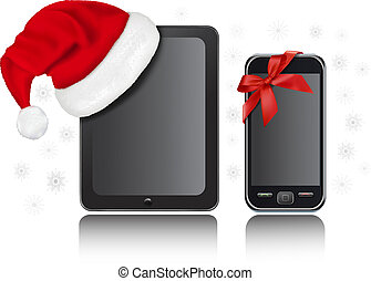 informatique, chapeau, tablette, santa