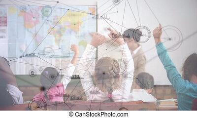informatique, classe, fond, sur, animation, gosses