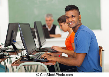 informatique, collège, classe, étudiant