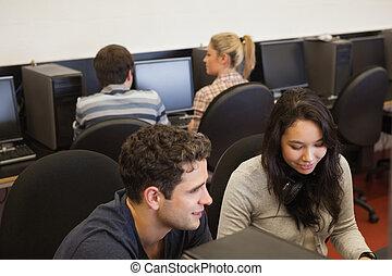 informatique, collège, classe