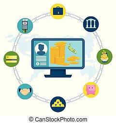 informatique, concept, électronique, transaction