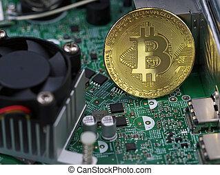 informatique, concept, processeur, bitcoin, entre, micro-processeurs, virtuel, doré, monnaie, cryptocurrency, carte mère