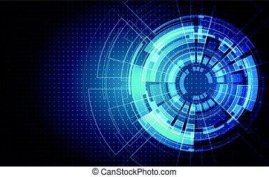 informatique, concept, résumé, illustration, élevé, arrière-plan., vecteur, circuit, numérique, planche, technologie, futuriste