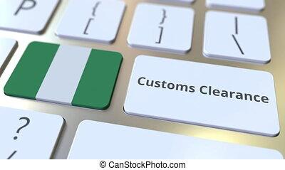 informatique, conceptuel, animation, nigeria, texte, ou, dégagement, exportation, importation, apparenté, keyboard., douane, drapeau, 3d