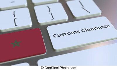 informatique, conceptuel, animation, texte, ou, dégagement, exportation, importation, apparenté, keyboard., douane, maroc, drapeau, 3d
