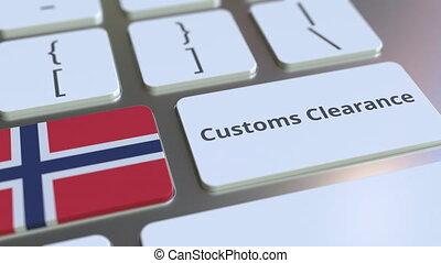 informatique, conceptuel, animation, texte, ou, dégagement, norvège, exportation, importation, apparenté, keyboard., douane, drapeau, 3d