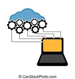 informatique, connecté, nuage
