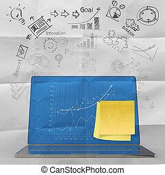 informatique, diagramme, business, ordinateur portable