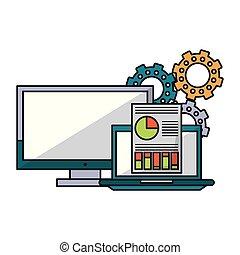 informatique, documents, engrenages