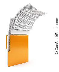 informatique, dossier, à, documents