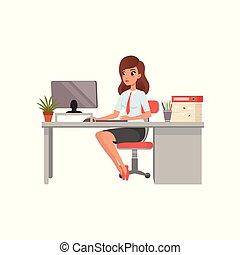 informatique, elle, gens fonctionnement, femme affaires, ordinateur portable, bureau, illustration, vecteur, quotidiennement, fond, routine, activité, blanc